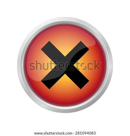 Hazard warning sign icon on red button - stock photo