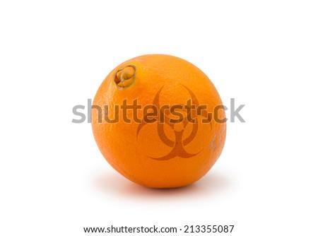 Hazardous juicy orange isolated on white background - stock photo