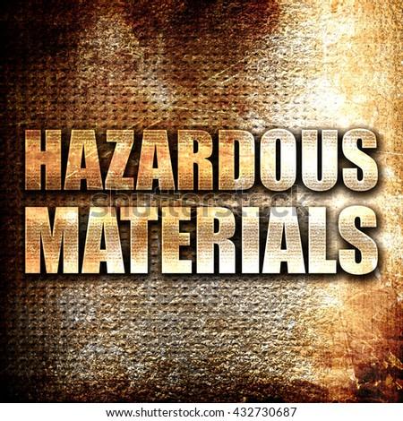 hazardous materials, 3D rendering, metal text on rust background - stock photo