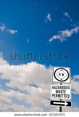 Hazardous waste sign in central California - stock photo