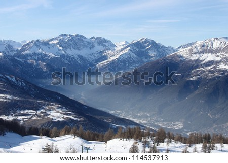 Haze in the mountain vale horizontal in Italy - stock photo