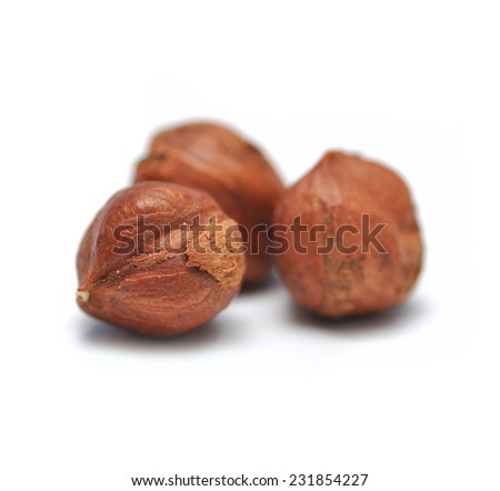 hazelnut organic isolated - stock photo