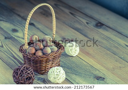 hazelnuts in the basket - stock photo