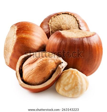 Hazelnuts isolated Clipping Path - stock photo