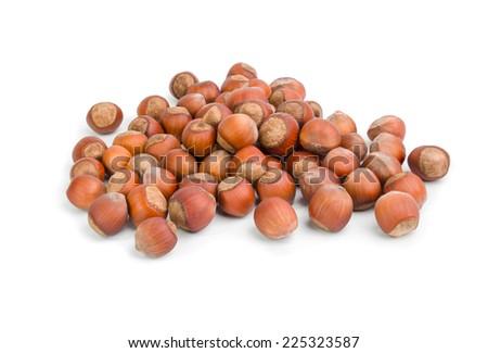 Hazelnuts  isolated on white - stock photo