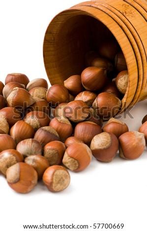 hazelnuts on white - stock photo