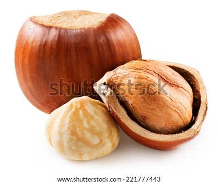 Hazelnuts with leaves isolated - stock photo