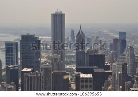 Hazy day in Chicago - stock photo