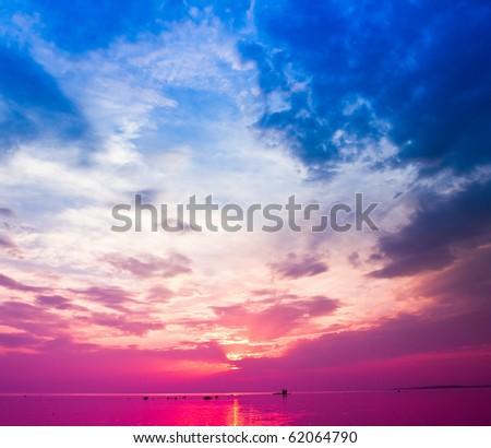 Hazy Shades of Red Sunset - stock photo