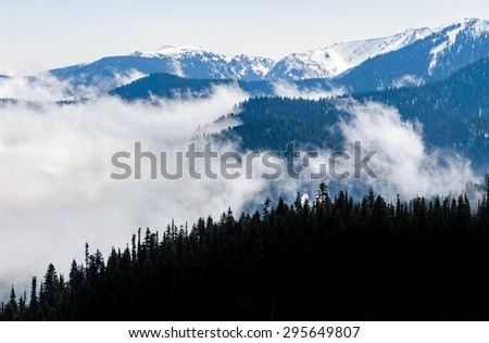 Hazy View of Olympic National Park - stock photo