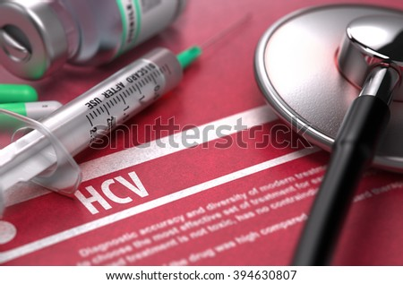 HCV - - Hepatitis C Virus - Medical Concept with Blurred Text, Stethoscope, Pills and Syringe on Red Background. Selective Focus. 3D Render. - stock photo