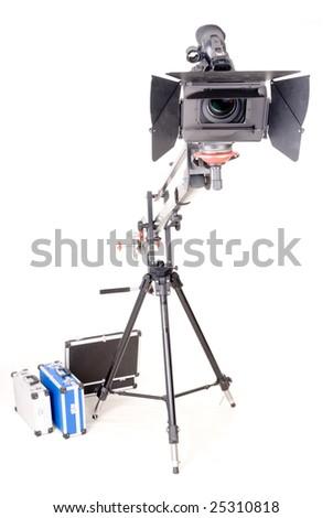 HD camcorder on studio handly crane - stock photo
