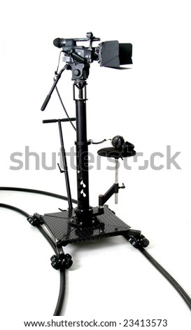 HD camcorder on the dolly - stock photo