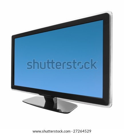hd wide screen tv display isolated on white - stock photo