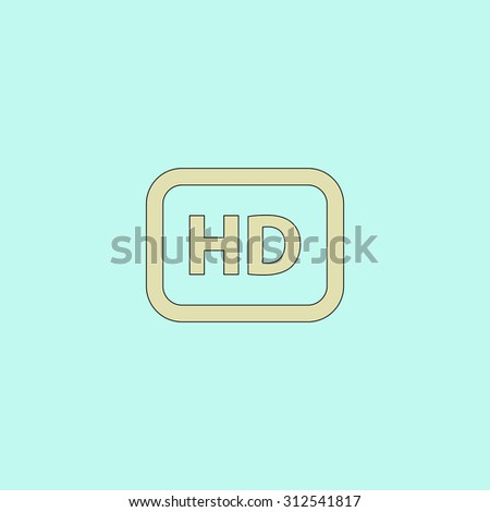 HD word button. Flat simple line icon. Retro color modern illustration pictogram. Collection concept symbol for infographic project and logo - stock photo