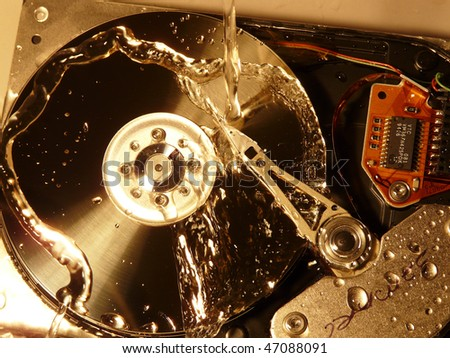 HDD gets wet - stock photo
