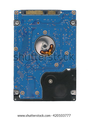 """HDD notebook laptop hard drive 2,5 """" inch bottom back other side view isolated on white - stock photo"""