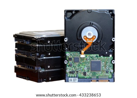 HDD or Hard disk drive for storage data isolated on white background - stock photo