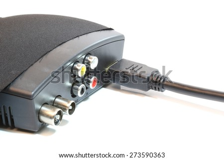 HDMI cable to the receiver box on a white background. - stock photo