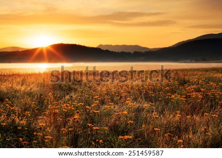 HDR foggy morning sunny landscape with sun over the mountains, grass and lake covered with water drops  - stock photo