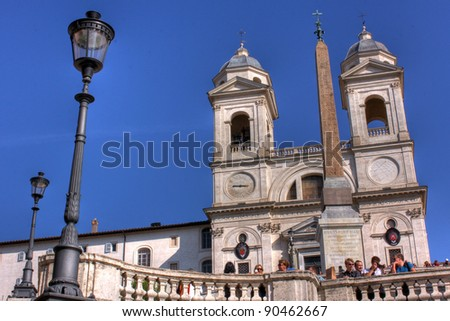 HDR French Church Egyptian obelisk at Spanish steps, Rome - Italy - stock photo