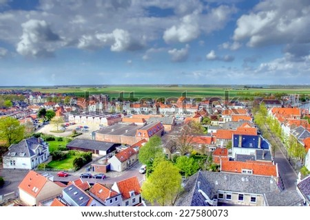 HDR image from a  little town in europe seen from above  - stock photo