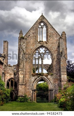 HDR image from ruins of the abbey of beauport in france - stock photo