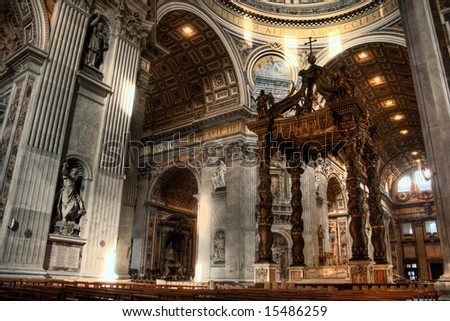 HDR image of the interior of St. Peters Basilica. Created by combining three individual exposures. - stock photo