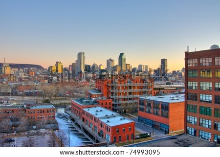 HDR image of Urbanism of Montreal at Sunrise - stock photo