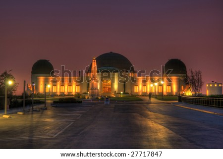 HDR night image of Griffith Observatory in Los Angeles. Minor chromatic aberrations are inevitable with this kind of image. - stock photo