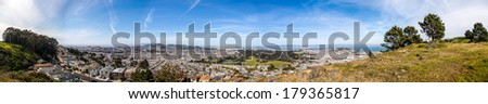 HDR panorama of the San Francisco Peninsula from south, viewed from the San Bruno Mountain State Park top, Daly City, California - stock photo
