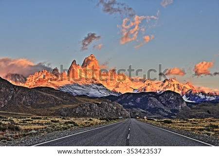 HDR Patagonia road at sunrise. Way to El Chalten (Argentina's Trekking Capital). High Dynamic range picture. - stock photo