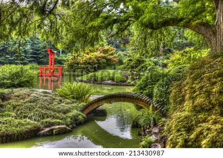 HDR picture of Japanese Garden in the Brooklyn Botanic Garden, New York City, U.S.A. - stock photo