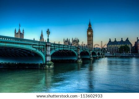 HDR Shot of westminster Bridge - stock photo