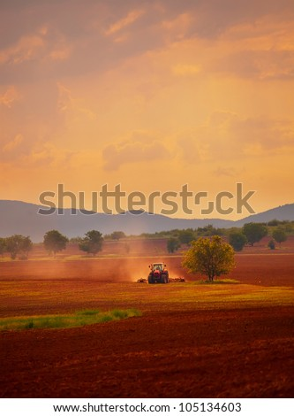 HDR vertical landscape; sunset over the cultivated farmland - stock photo