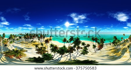 HDRI High resolution map. tropical beach with coconut palms on the beach, tropical island - stock photo