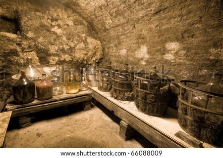 HDRI of a wine cave - stock photo