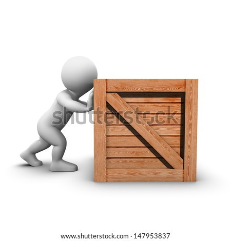He has trouble pushing a big wooden crate. - stock photo