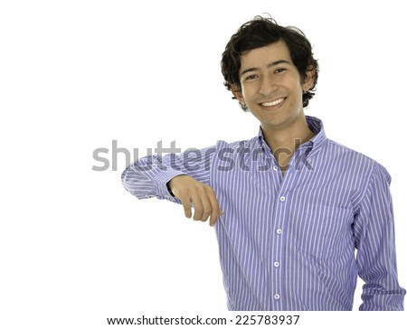 He is a businessman who wear a formal clothes and hold his shoulder in something - stock photo