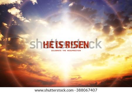 He is risen, beautiful skylight background - stock photo