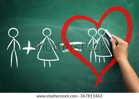 he  plus she equals love, alone stickman plus alone stickwoman  equals love, concept valentine�¢??s day - stock photo