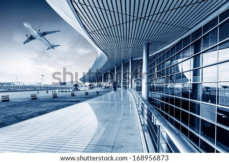 he scene of T3 airport building in beijing china. - stock photo