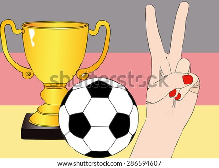 He won Germany - Illustration depicting the joy of a supporter for the cup won in a football tournament for nations - stock photo