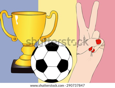 He won the Romania - Illustration depicting the joy of a supporter for the cup won in a football tournament for nations - stock photo