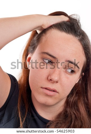 Head Ache Frustrated Girl - stock photo