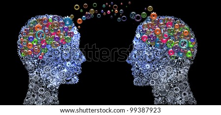 Head and Brain Gears in The Human Heads, Thinking Communication Concept - stock photo