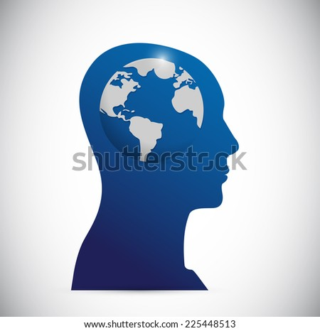 head and globe illustration design over a white background - stock photo