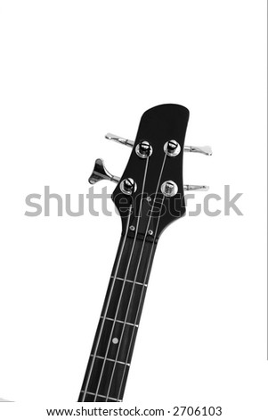 Head and neck of a bass guitar isolated on white - stock photo