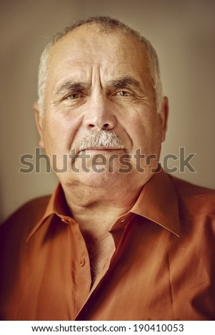 Head and shoulders portrait of an elderly man with a moustache looking directly at the camera with a serious expression - stock photo