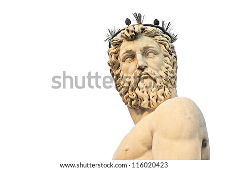 head and torso of statue of neptune on piazza della signoria in firenze or florence, italy, europe, isolated on white - stock photo